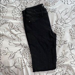 Women's black chevron pattern jeans